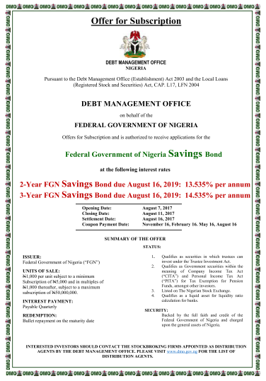 Aug-2017 FGN Saving Bonds Primary Auction Offer